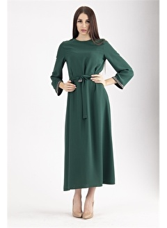 Belamore  Belae Uzun Kollu Taşlı Zümrüt Kadın Tesettür Elbise